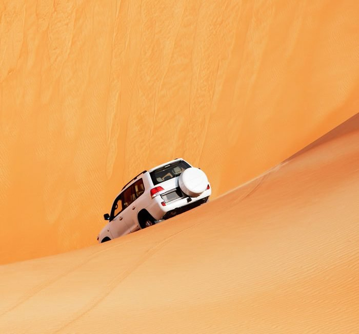 4x4 dune bashing through an Arabian Dubai5